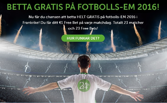 24hbet ger bort 10 kr varje dag under Fotbolls EM 2016