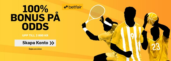 Betfair med 2000 kronor betting bonus