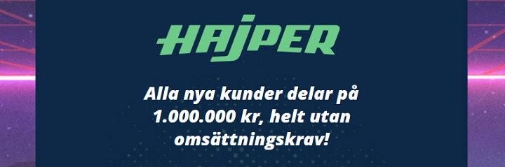 Dela på en miljon hos Hajper fram till jul 2019