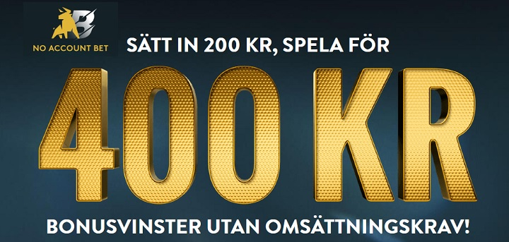 200 kr i oddsbonus hos No Account Bet