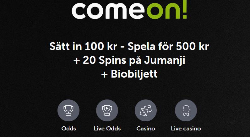 Ny Comeon bonus med free spins och biobiljett